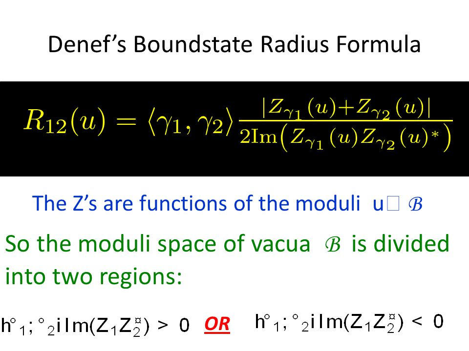 Denef's Boundstate Radius Formula So the moduli space of vacua B is divided into two regions: The Z's are functions of the moduli u  B OR