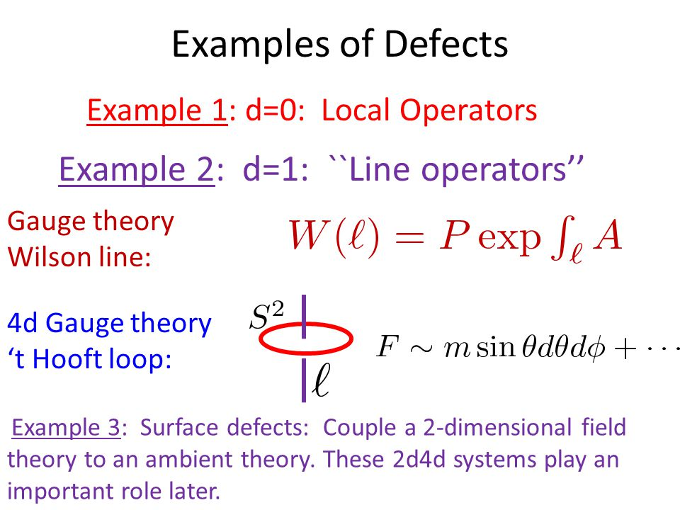 Examples of Defects Example 1: d=0: Local Operators Example 2: d=1: ``Line operators'' Example 3: Surface defects: Couple a 2-dimensional field theory to an ambient theory.
