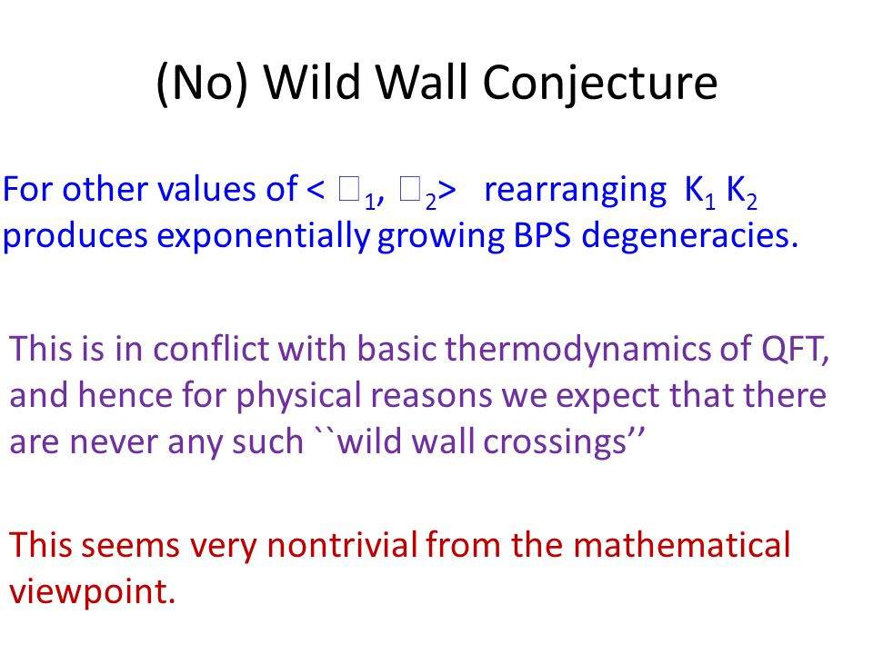 (No) Wild Wall Conjecture For other values of rearranging K 1 K 2 produces exponentially growing BPS degeneracies.