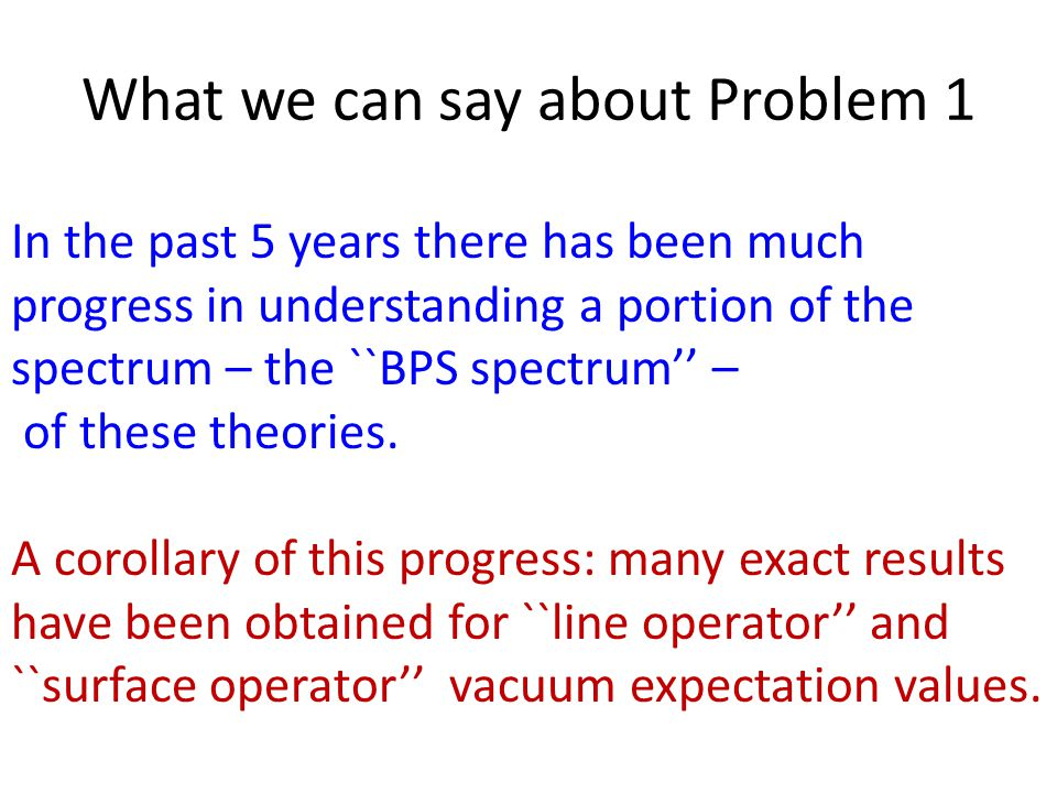 What we can say about Problem 1 In the past 5 years there has been much progress in understanding a portion of the spectrum – the ``BPS spectrum'' – of these theories.