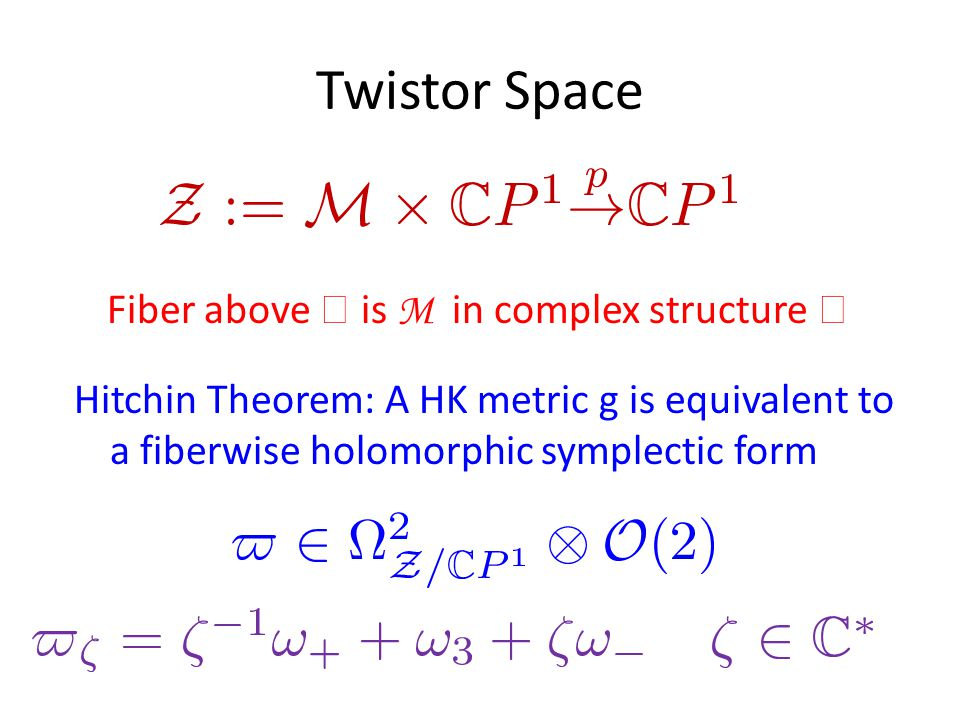 Twistor Space Hitchin Theorem: A HK metric g is equivalent to a fiberwise holomorphic symplectic form Fiber above  is M in complex structure 
