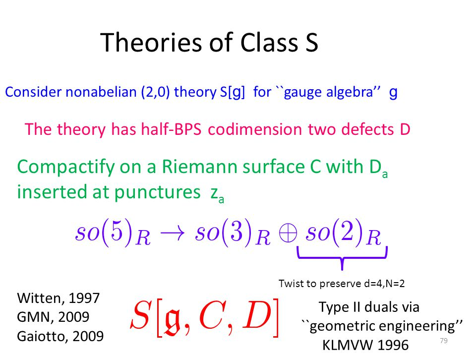 Theories of Class S Consider nonabelian (2,0) theory S[ g ] for ``gauge algebra'' g The theory has half-BPS codimension two defects D Compactify on a Riemann surface C with D a inserted at punctures z a Twist to preserve d=4,N=2 Witten, 1997 GMN, 2009 Gaiotto, 2009 79 Type II duals via ``geometric engineering'' KLMVW 1996