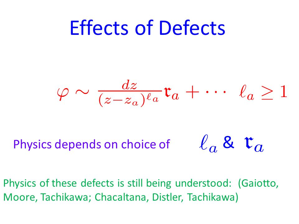 Effects of Defects Physics depends on choice of & Physics of these defects is still being understood: (Gaiotto, Moore, Tachikawa; Chacaltana, Distler, Tachikawa)