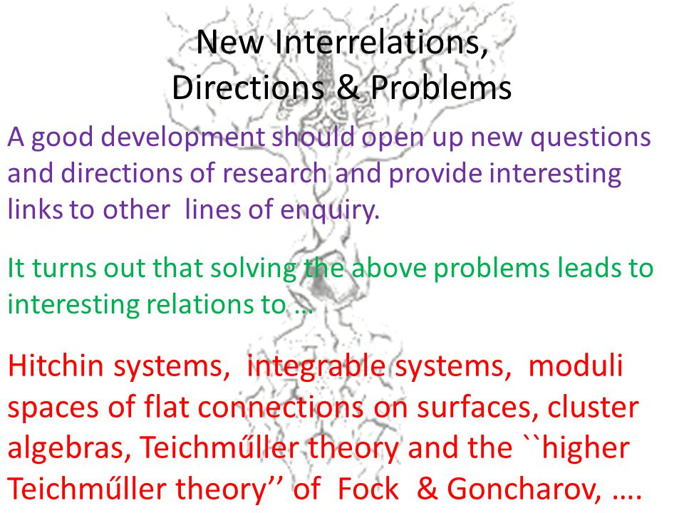 New Interrelations, Directions & Problems Hitchin systems, integrable systems, moduli spaces of flat connections on surfaces, cluster algebras, Teichműller theory and the ``higher Teichműller theory'' of Fock & Goncharov, ….