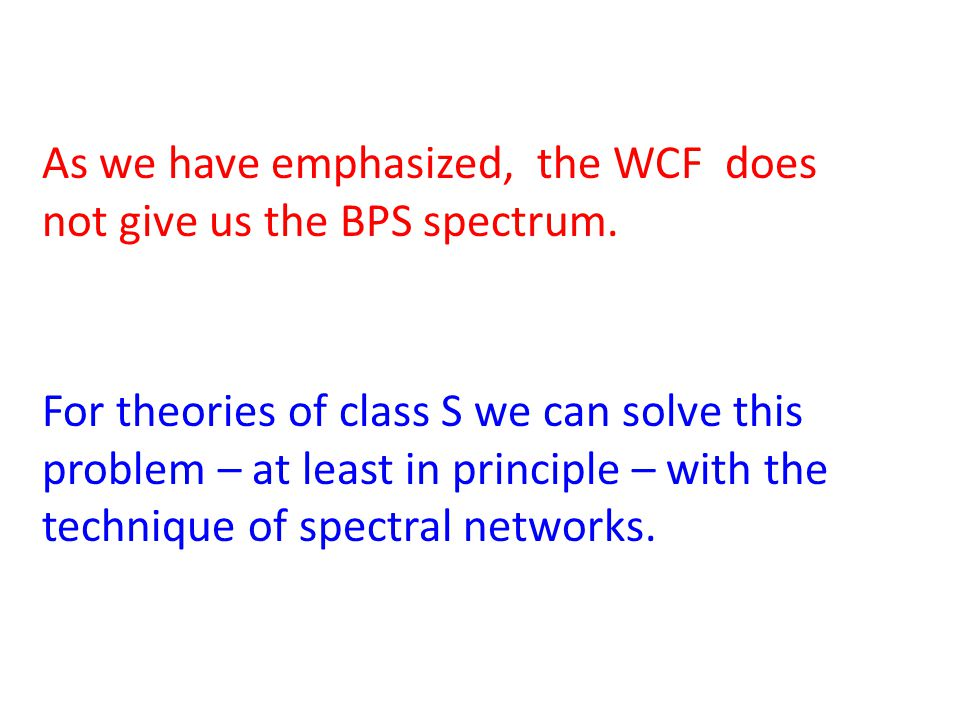 As we have emphasized, the WCF does not give us the BPS spectrum.