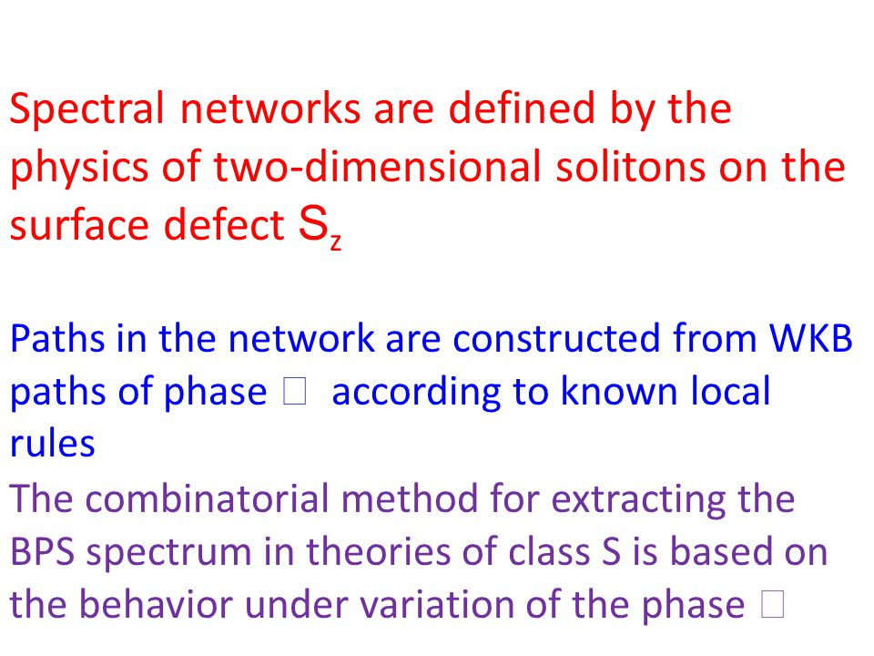 The combinatorial method for extracting the BPS spectrum in theories of class S is based on the behavior under variation of the phase Spectral networks are defined by the physics of two-dimensional solitons on the surface defect S z Paths in the network are constructed from WKB paths of phase according to known local rules