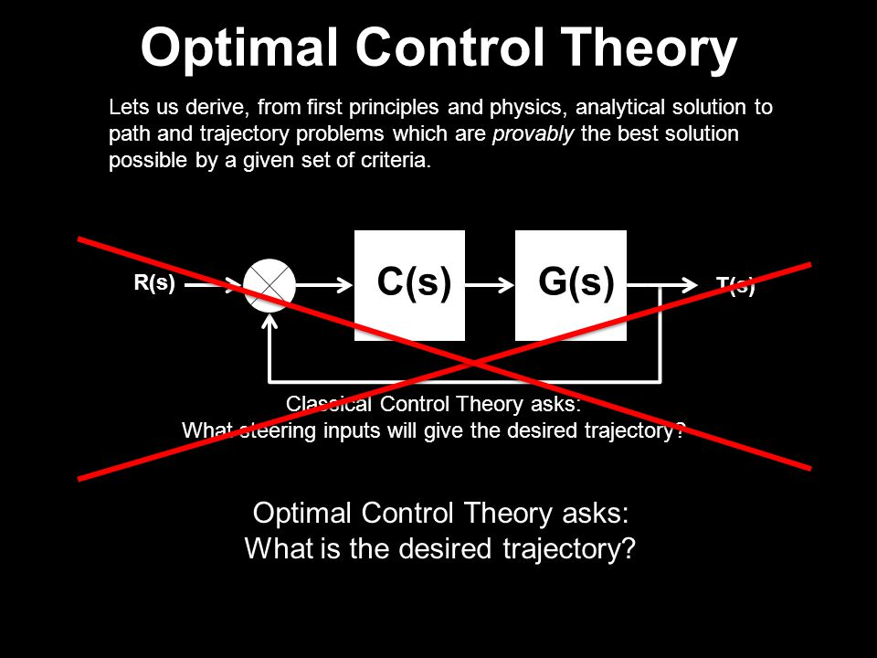 Optimal Control Theory Lets us derive, from first principles and physics, analytical solution to path and trajectory problems which are provably the best solution possible by a given set of criteria.
