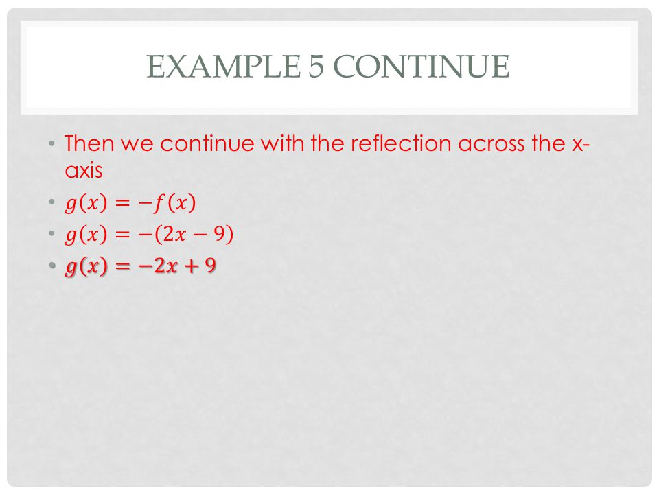 EXAMPLE 5 CONTINUE