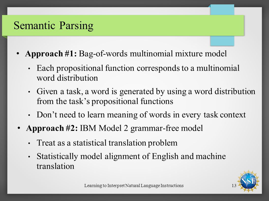 Learning to Interpret Natural Language Instructions13 Semantic Parsing Approach #1: Bag-of-words multinomial mixture model Each propositional function corresponds to a multinomial word distribution Given a task, a word is generated by using a word distribution from the task's propositional functions Don't need to learn meaning of words in every task context Approach #2: IBM Model 2 grammar-free model Treat as a statistical translation problem Statistically model alignment of English and machine translation
