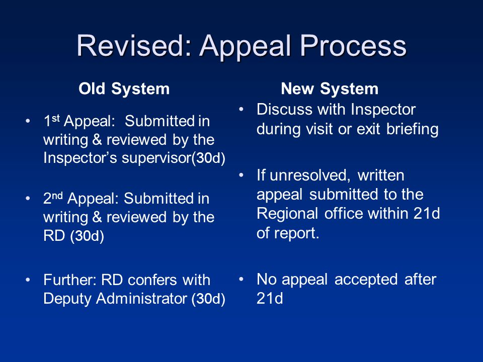 Revised: Appeal Process Old System 1 st Appeal: Submitted in writing & reviewed by the Inspector's supervisor( 30d) 2 nd Appeal: Submitted in writing & reviewed by the RD (30d) Further: RD confers with Deputy Administrator (30d) New System Discuss with Inspector during visit or exit briefing If unresolved, written appeal submitted to the Regional office within 21d of report.