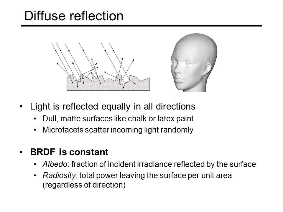 Diffuse reflection Light is reflected equally in all directions Dull, matte surfaces like chalk or latex paint Microfacets scatter incoming light randomly BRDF is constant Albedo: fraction of incident irradiance reflected by the surface Radiosity: total power leaving the surface per unit area (regardless of direction)