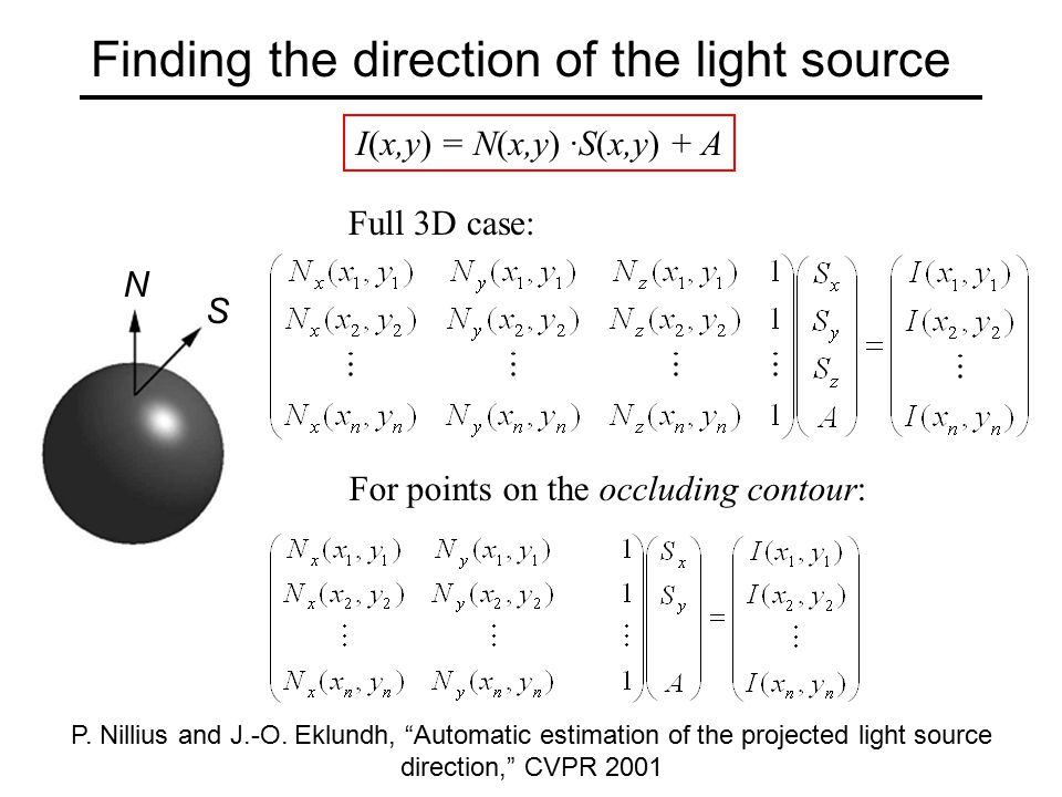 Finding the direction of the light source I(x,y) = N(x,y) ·S(x,y) + A Full 3D case: For points on the occluding contour: P.