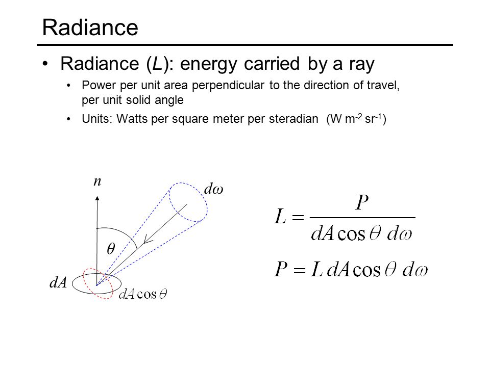 Radiance The roles of the patch and the source are essentially symmetric dA 2 θ1θ1 θ2θ2 dA 1 r