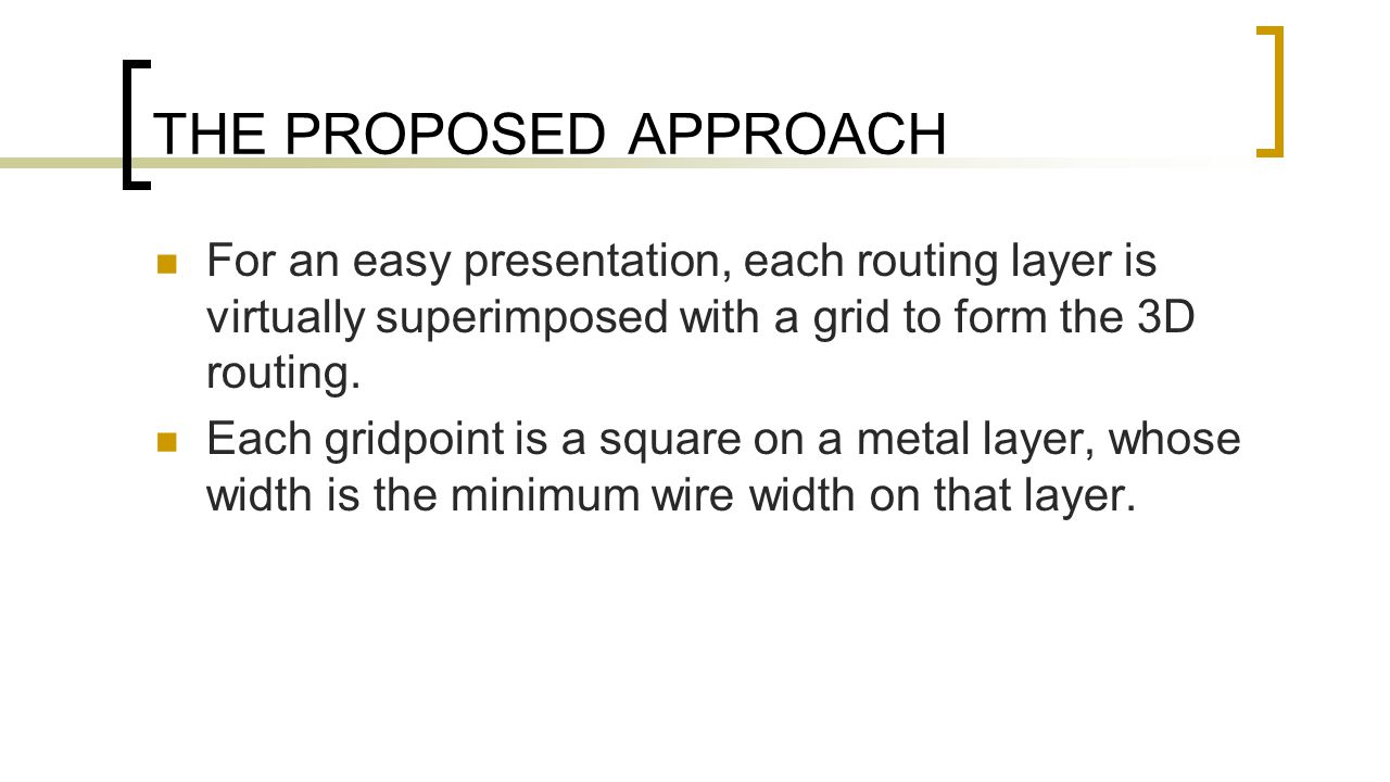 THE PROPOSED APPROACH For an easy presentation, each routing layer is virtually superimposed with a grid to form the 3D routing.