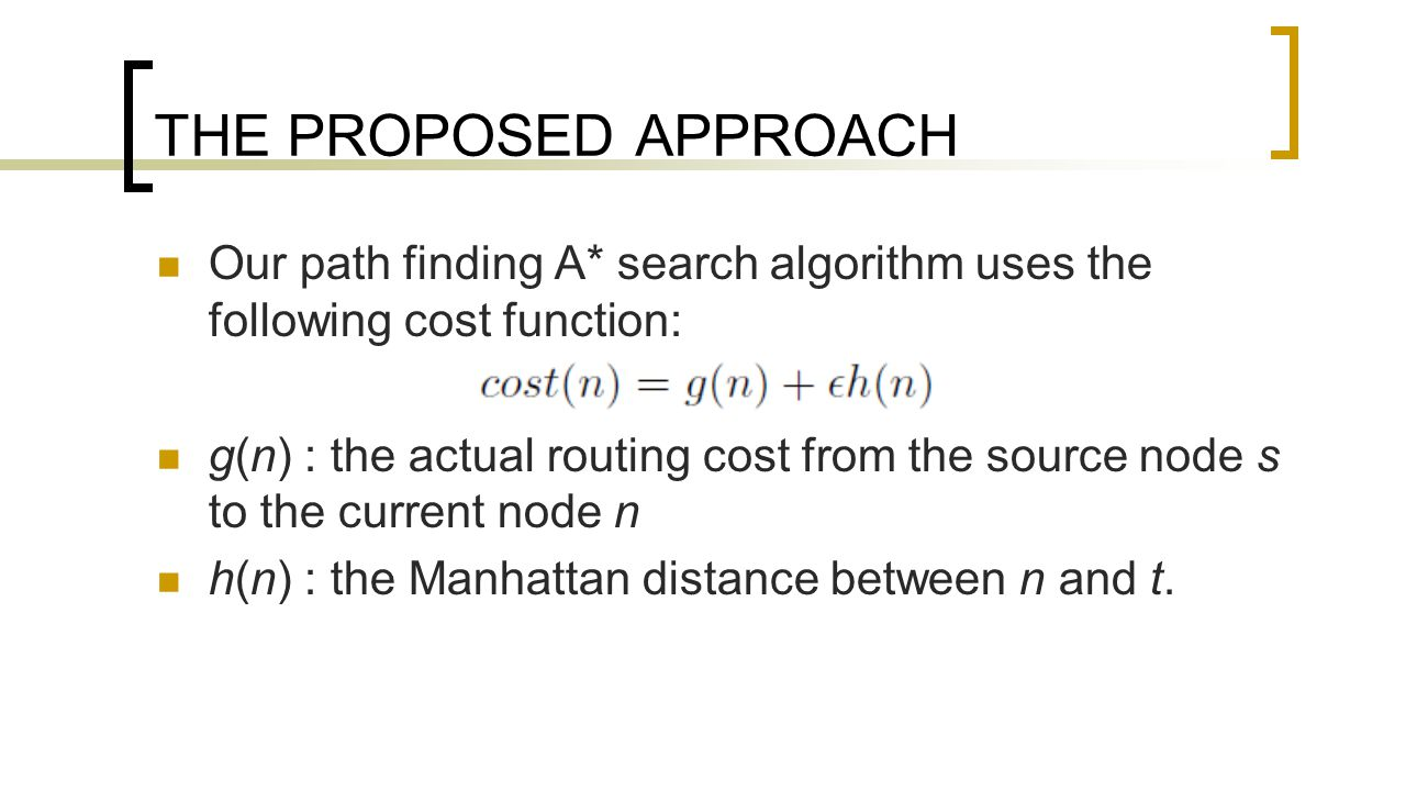 THE PROPOSED APPROACH Our path finding A* search algorithm uses the following cost function: g(n) : the actual routing cost from the source node s to