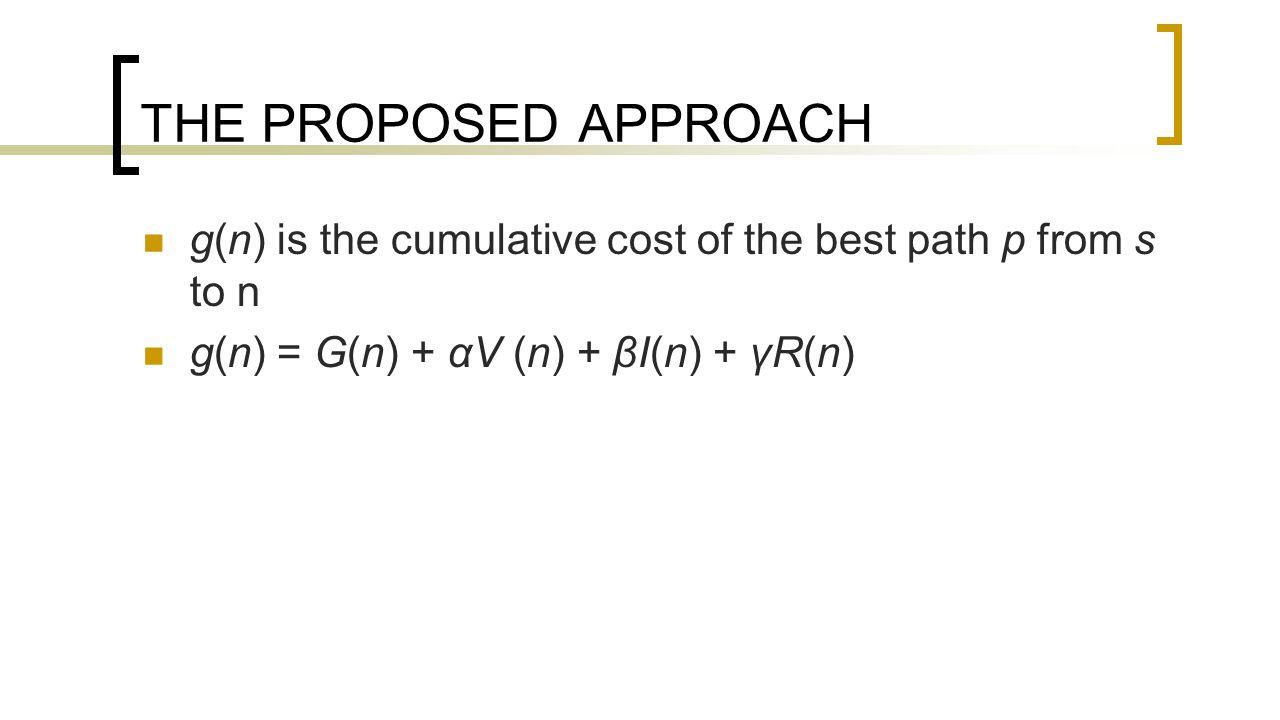 THE PROPOSED APPROACH g(n) is the cumulative cost of the best path p from s to n g(n) = G(n) + αV (n) + βI(n) + γR(n)