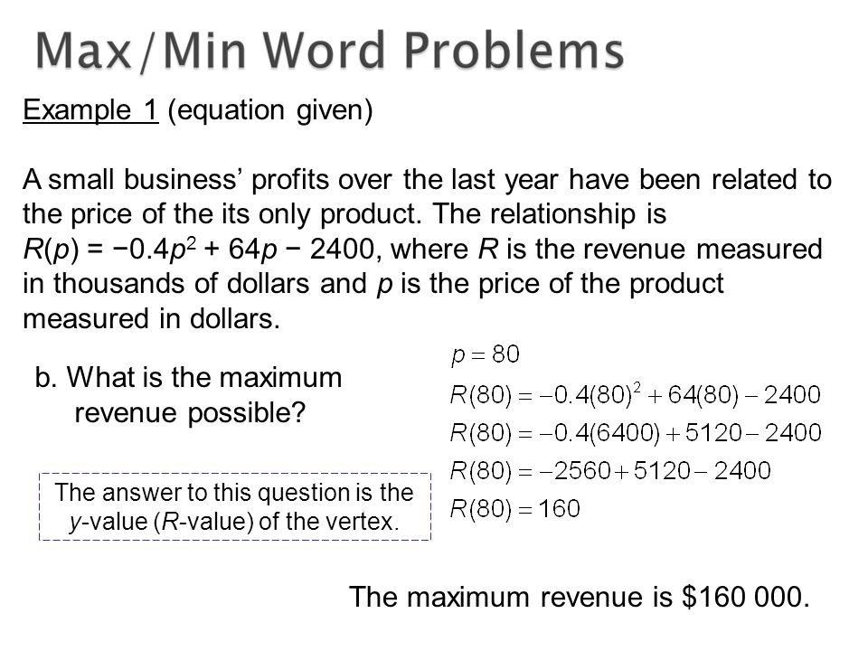 Example 1 (equation given) A small business' profits over the last year have been related to the price of the its only product.