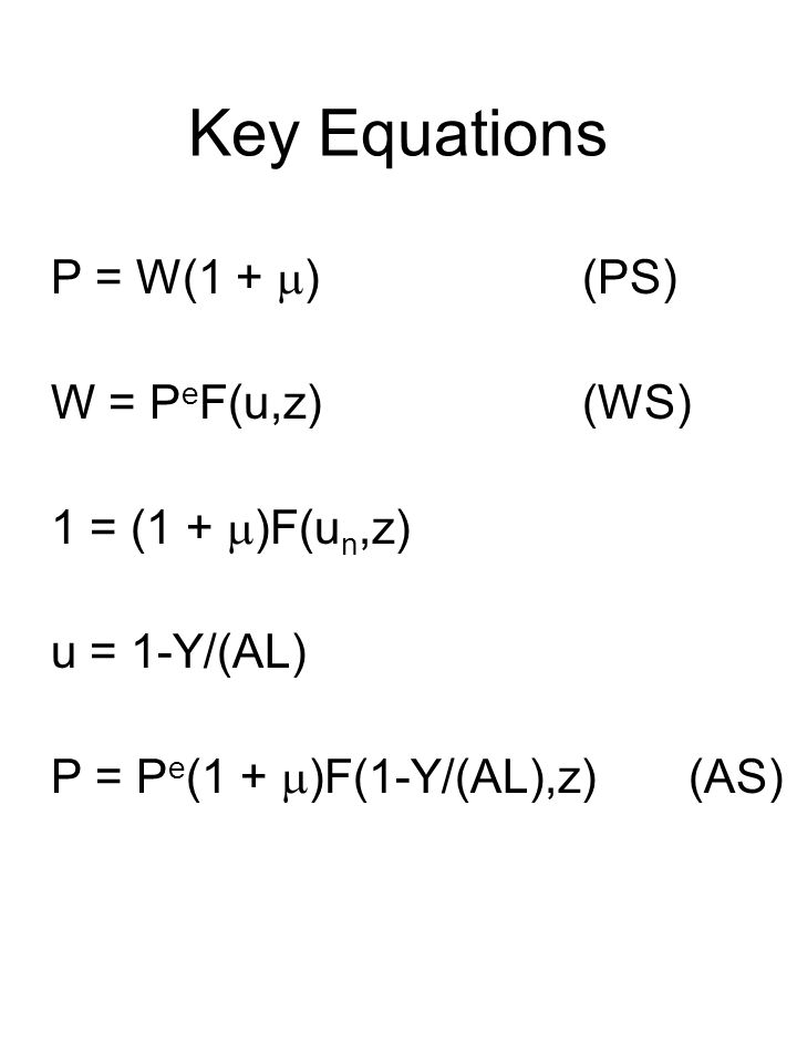 Key Equations P = W(1 +  )(PS) W = P e F(u,z)(WS) 1 = (1 +  )F(u n,z) u = 1-Y/(AL) P = P e (1 +  )F(1-Y/(AL),z)(AS)