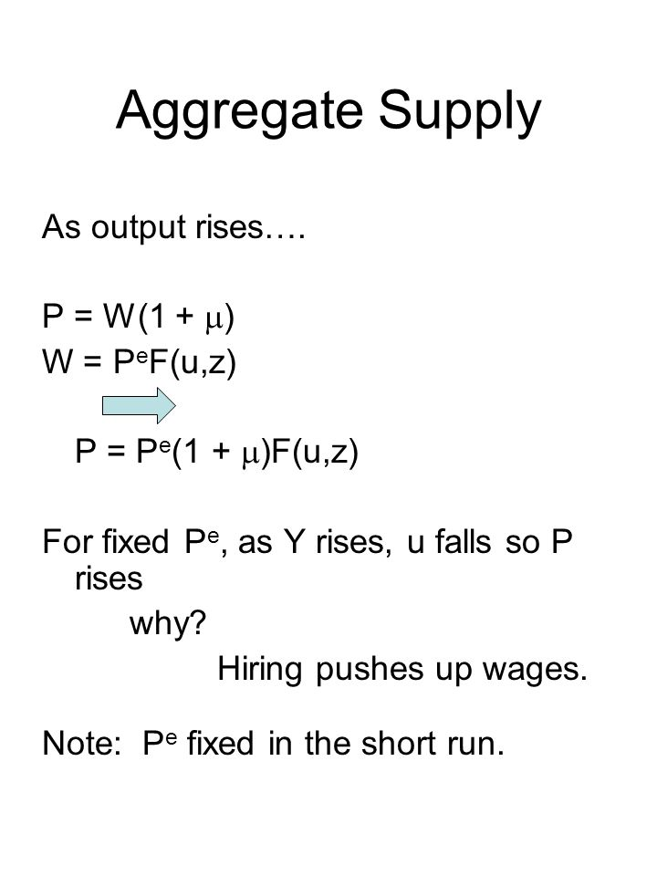Aggregate Supply As output rises….