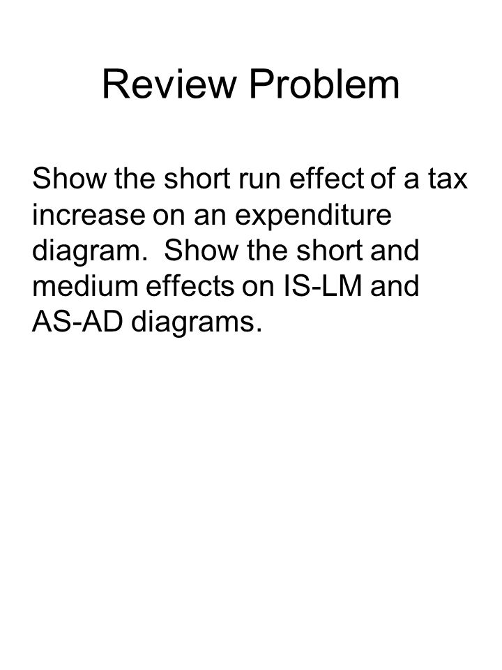 Review Problem Show the short run effect of a tax increase on an expenditure diagram.