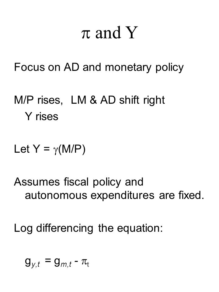  and Y Focus on AD and monetary policy M/P rises, LM & AD shift right Y rises Let Y =  (M/P) Assumes fiscal policy and autonomous expenditures are fixed.