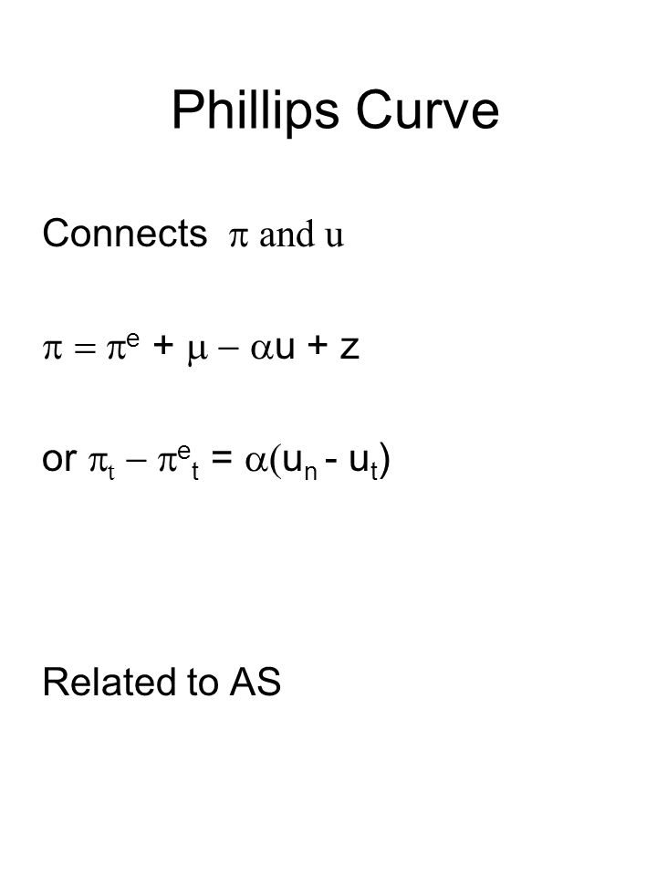 Phillips Curve Connects  and u  e +  u + z or  t  e t =  u n - u t ) Related to AS