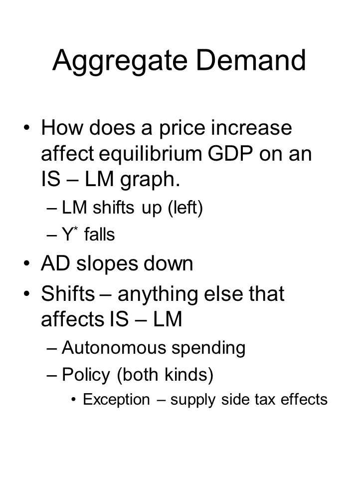 Aggregate Demand How does a price increase affect equilibrium GDP on an IS – LM graph.