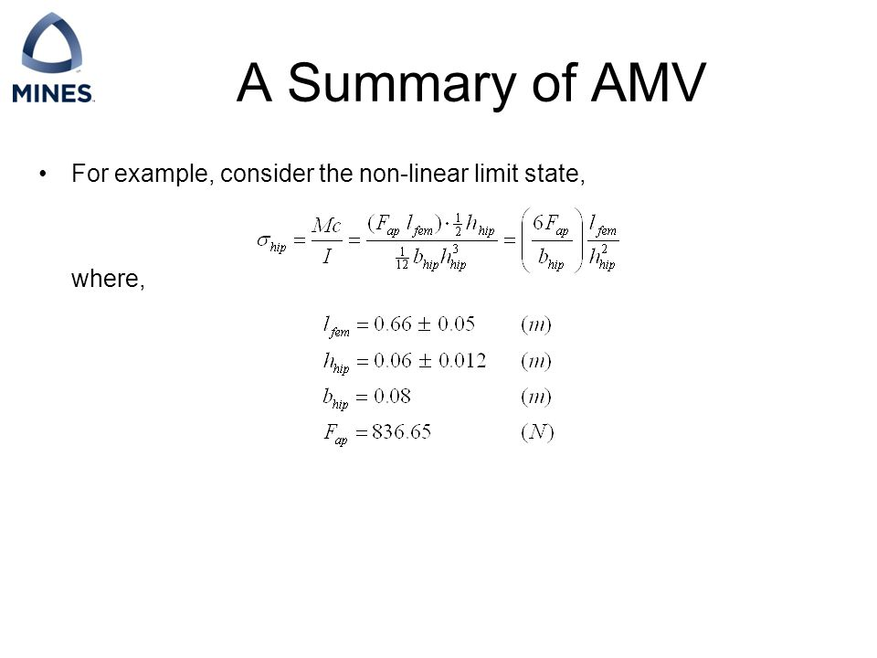 A Summary of AMV For example, consider the non-linear limit state, where,