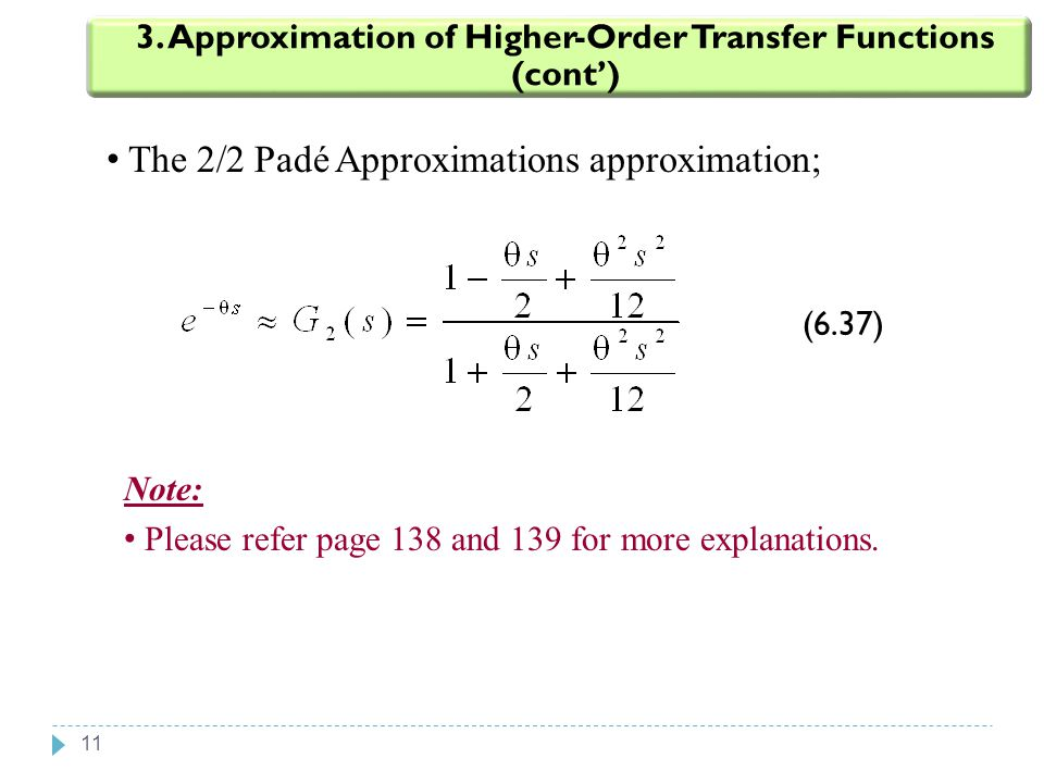 11 The 2/2 Padé Approximations approximation; 3. Approximation of Higher-Order Transfer Functions (cont') (6.37) Note: Please refer page 138 and 139 f