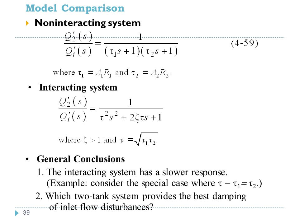 Model Comparison 39  Noninteracting system Interacting system General Conclusions 1. The interacting system has a slower response. (Example: consider