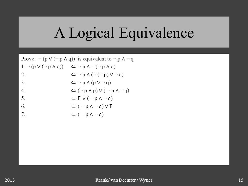 2013Frank / van Deemter / Wyner15 A Logical Equivalence Prove: ¬ (p ∨ (¬ p ∧ q)) is equivalent to ¬ p ∧ ¬ q 1.