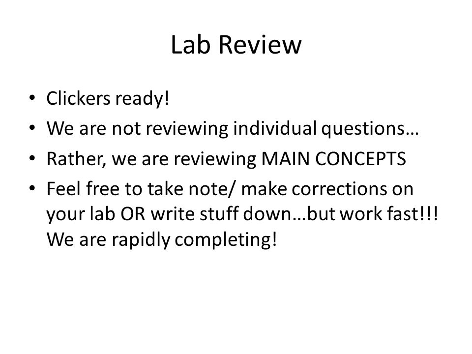 Lab Review Clickers ready! We are not reviewing individual questions… Rather, we are reviewing MAIN CONCEPTS Feel free to take note/ make corrections