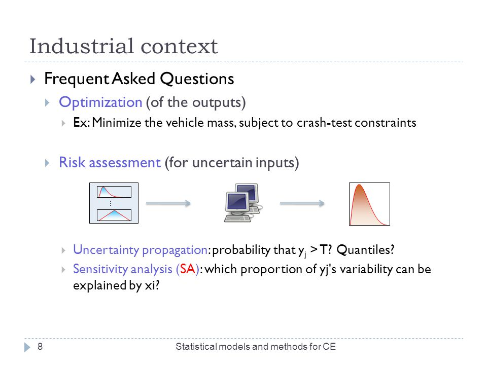Industrial context  Frequent Asked Questions  Optimization (of the outputs)  Ex: Minimize the vehicle mass, subject to crash-test constraints Stati