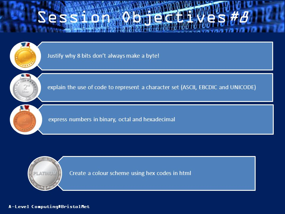 A-Level Computing#BristolMet Session Objectives#8 express numbers in binary, octal and hexadecimal explain the use of code to represent a character se