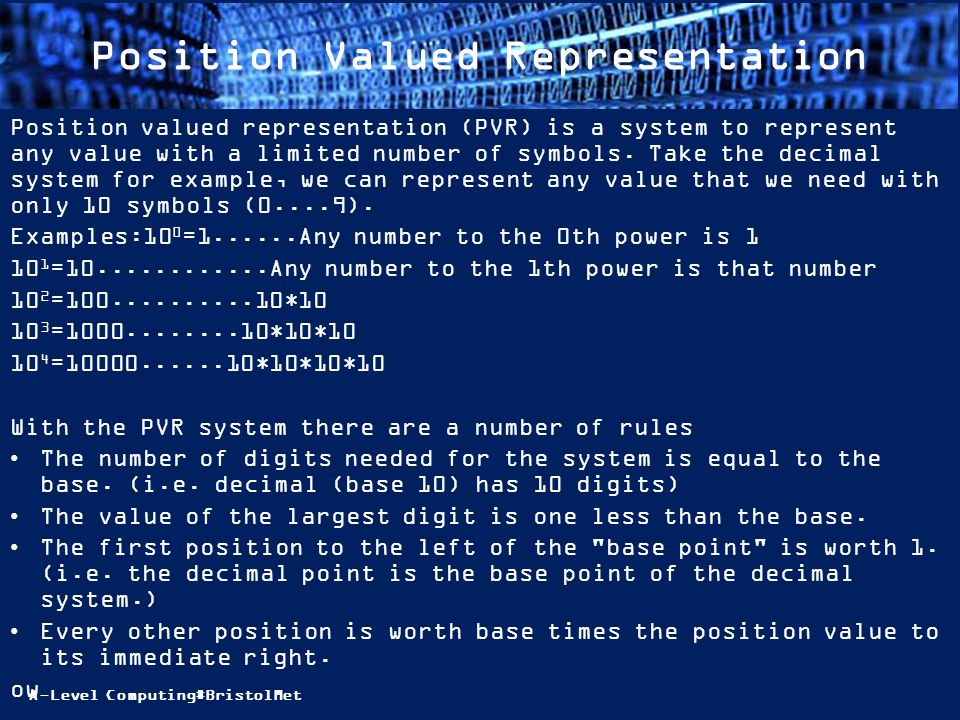 A-Level Computing#BristolMet Position Valued Representation Position valued representation (PVR) is a system to represent any value with a limited number of symbols.