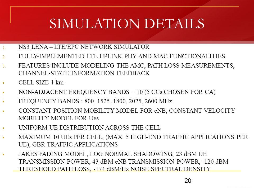 SIMULATION DETAILS 1. NS3 LENA – LTE/EPC NETWORK SIMULATOR 2.