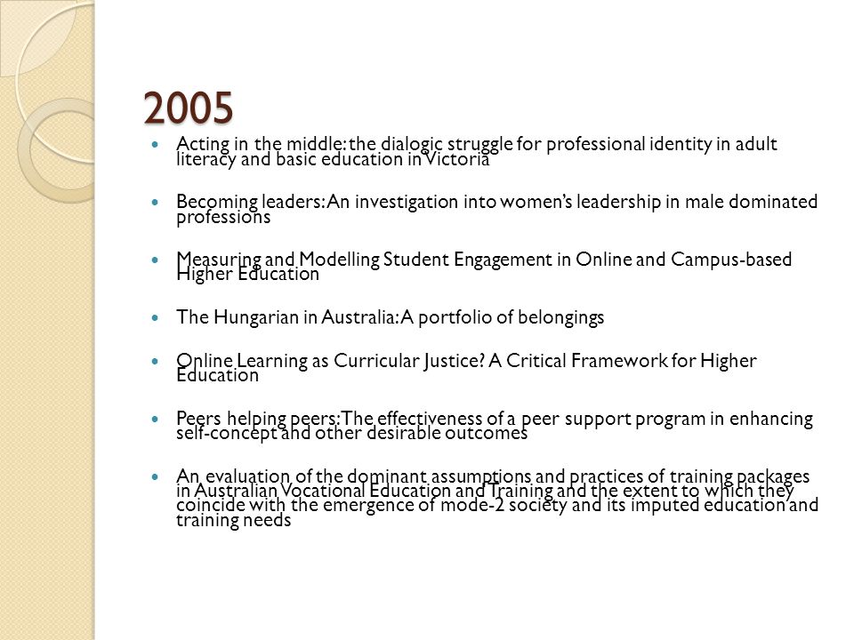 2005 Acting in the middle: the dialogic struggle for professional identity in adult literacy and basic education in Victoria Becoming leaders: An investigation into women's leadership in male dominated professions Measuring and Modelling Student Engagement in Online and Campus-based Higher Education The Hungarian in Australia: A portfolio of belongings Online Learning as Curricular Justice.