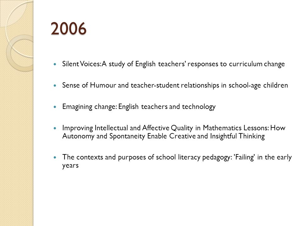 2006 Silent Voices: A study of English teachers responses to curriculum change Sense of Humour and teacher-student relationships in school-age children Emagining change: English teachers and technology Improving Intellectual and Affective Quality in Mathematics Lessons: How Autonomy and Spontaneity Enable Creative and Insightful Thinking The contexts and purposes of school literacy pedagogy: Failing in the early years