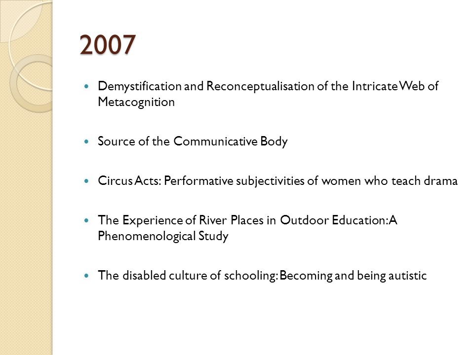 2007 Demystification and Reconceptualisation of the Intricate Web of Metacognition Source of the Communicative Body Circus Acts: Performative subjectivities of women who teach drama The Experience of River Places in Outdoor Education: A Phenomenological Study The disabled culture of schooling: Becoming and being autistic