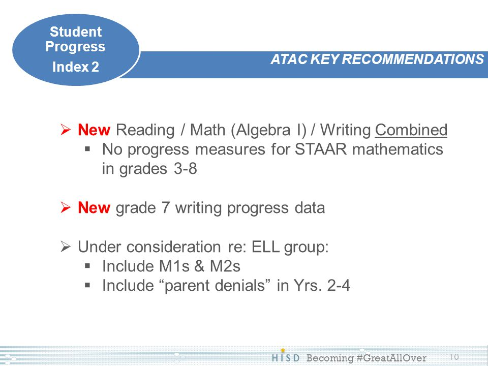 HISD Becoming #GreatAllOver 10 ATAC KEY RECOMMENDATIONS Student Progress Index 2  New Reading / Math (Algebra I) / Writing Combined  No progress mea