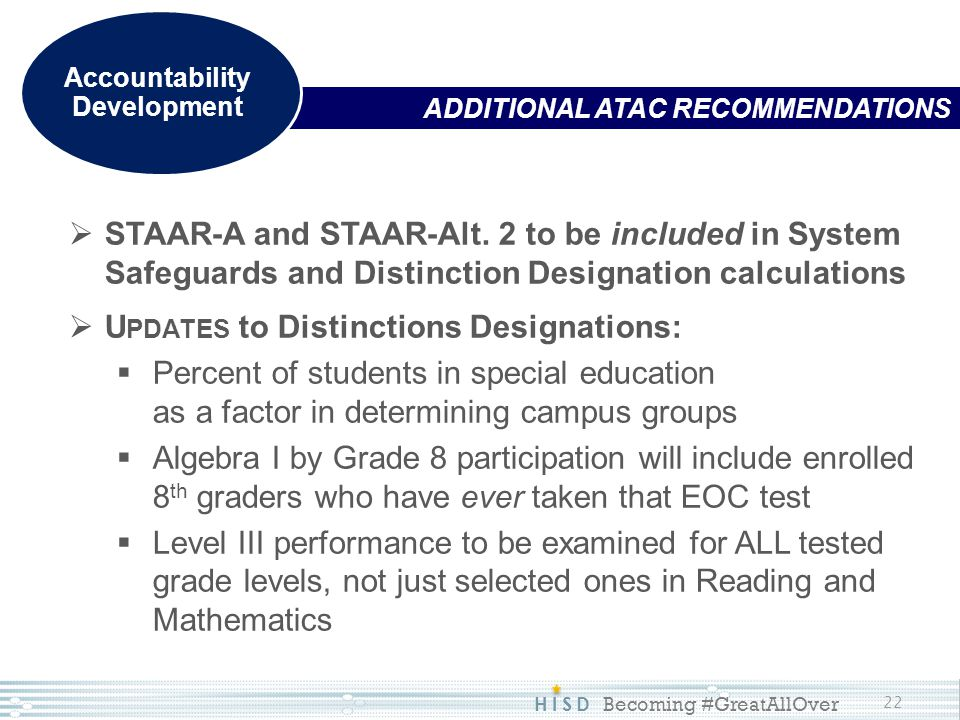 HISD Becoming #GreatAllOver 22 ADDITIONAL ATAC RECOMMENDATIONS Accountability Development  STAAR-A and STAAR-Alt. 2 to be included in System Safeguar