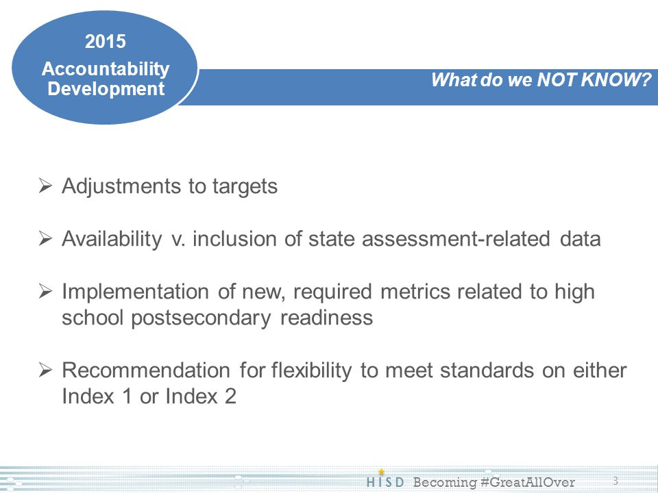 HISD Becoming #GreatAllOver 3 What do we NOT KNOW? 2015 Accountability Development  Adjustments to targets  Availability v. inclusion of state asses