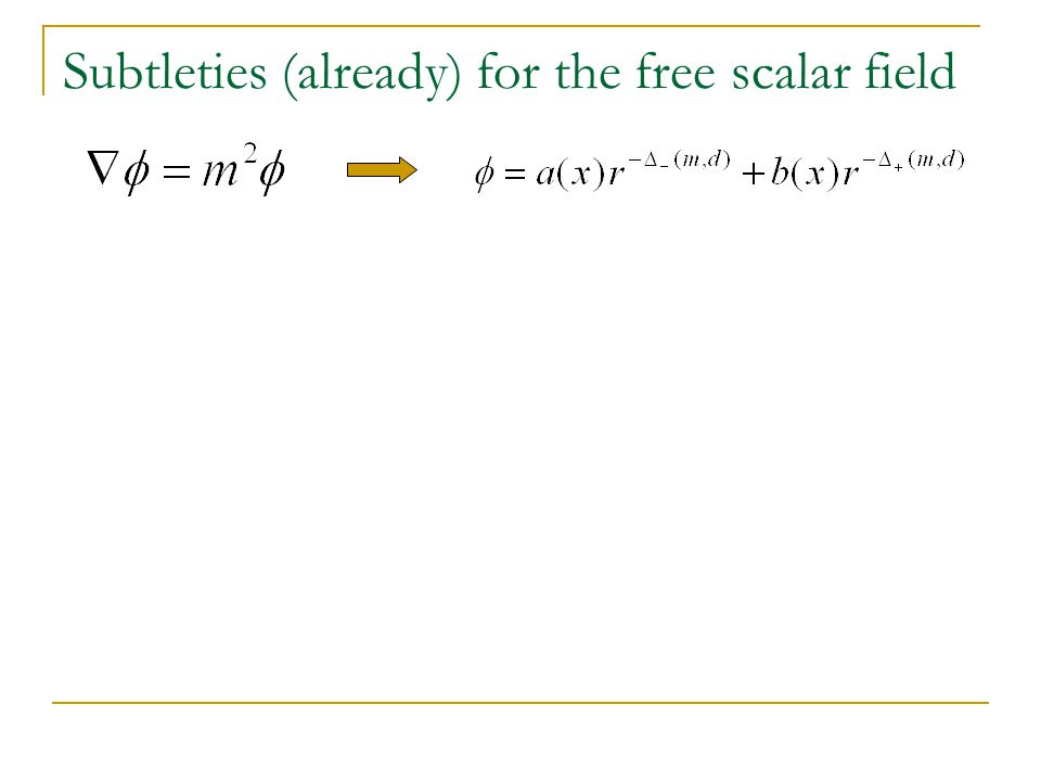 Subtleties (already) for the free scalar field