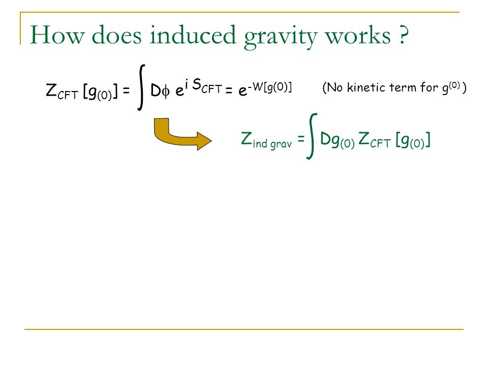 How does induced gravity works .