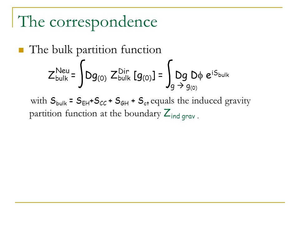 The correspondence The bulk partition function with S bulk = S EH +S CC + S GH + S ct equals the induced gravity partition function at the boundary Z ind grav.