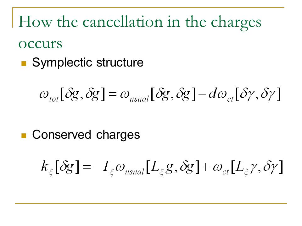 How the cancellation in the charges occurs Symplectic structure Conserved charges