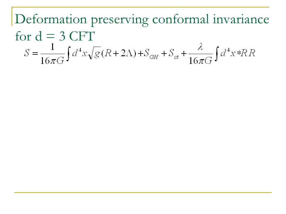 Deformation preserving conformal invariance for d = 3 CFT