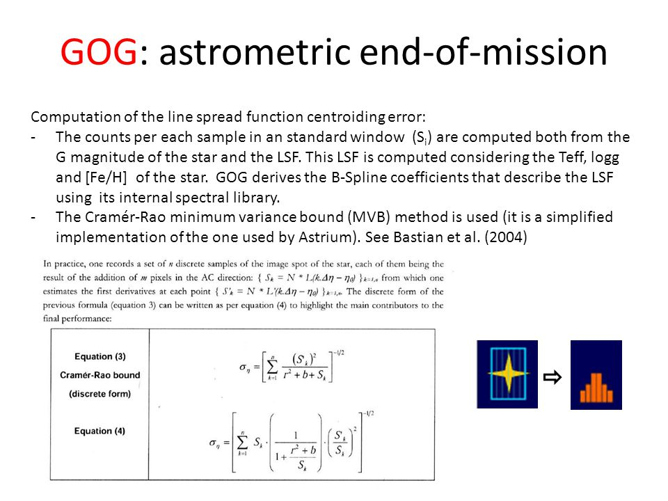 GOG: astrometric end-of-mission Computation of the line spread function centroiding error: -The counts per each sample in an standard window (S i ) are computed both from the G magnitude of the star and the LSF.