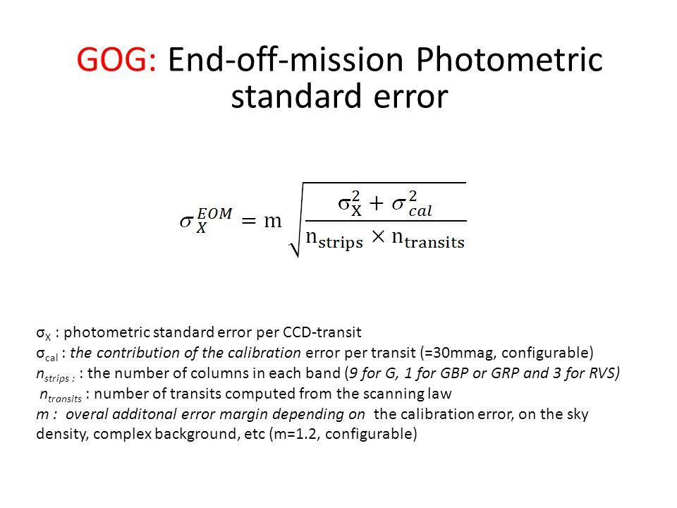 σ X : photometric standard error per CCD-transit σ cal : the contribution of the calibration error per transit (=30mmag, configurable) n strips : : the number of columns in each band (9 for G, 1 for GBP or GRP and 3 for RVS) n transits : number of transits computed from the scanning law m : overal additonal error margin depending on the calibration error, on the sky density, complex background, etc (m=1.2, configurable) GOG: End-off-mission Photometric standard error