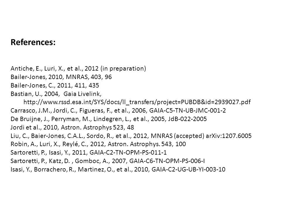 References: Antiche, E., Luri, X., et al., 2012 (in preparation) Bailer-Jones, 2010, MNRAS, 403, 96 Bailer-Jones, C., 2011, 411, 435 Bastian, U., 2004, Gaia Livelink, http://www.rssd.esa.int/SYS/docs/ll_transfers/project=PUBDB&id=2939027.pdf Carrasco, J.M., Jordi, C., Figueras, F., et al., 2006, GAIA-C5-TN-UB-JMC-001-2 De Bruijne, J., Perryman, M., Lindegren, L., et al., 2005, JdB-022-2005 Jordi et al., 2010, Astron.